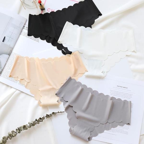 全館83折 4條裝 一片式無痕波浪純棉襠內褲女性感冰絲低腰女士三角褲頭底褲