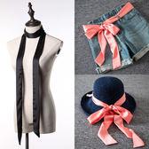 小長巾 韓版細窄超長絲巾領帶腰帶綢緞百搭黑色純色女圍巾領巾