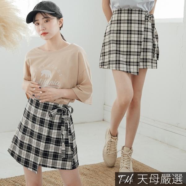 【天母嚴選】學院風格紋高腰綁帶短裙(共二色)