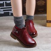 女童靴子中大童2018秋冬新款英倫兒童馬丁靴短靴公主單靴冬季棉鞋 草莓妞妞