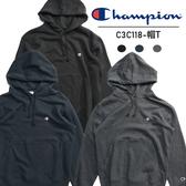CHAMPION 胸前小LOGO 帽T 鐵灰 藏青 黑 長袖 男 (布魯克林) C3C118-