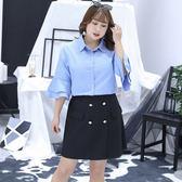中大尺碼~側面兩個假口袋半身裙(XL~4XL)