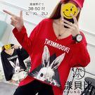 【YOUNGBABY】V領ENDORMENT三角兔子個性棉T.黑/紅(38-50)