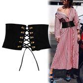 歐美綁帶系帶束腰帶寬女士簡約百搭裝飾襯衫配洋裝黑色潮 DN11470【衣好月圓】