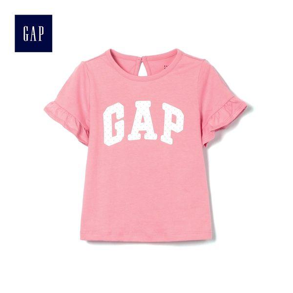 Gap女嬰兒 Logo波點印花圓領短袖T恤 472672-珊瑚粉色