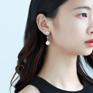 新年耳飾 優雅花朵耳釘925銀針珍珠耳環女氣質日韓個性中長款耳飾新娘配飾【快速出貨八折鉅惠】