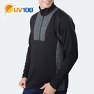 UV100 防曬 抗UV 保暖花紗拼接立領開襟上衣-男