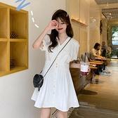 白色洋裝 夏季韓版2020新款法式V領洋氣設計感桔梗裙氣質收腰短袖洋裝女