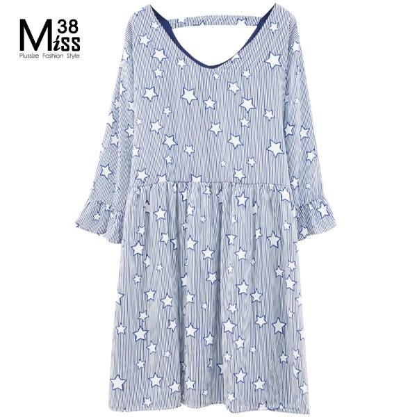 Miss38-(現貨)【A07768】星星深藍條紋 七分喇叭袖 雪紡 大碼洋裝 顯瘦 連衣裙 - 中大尺碼