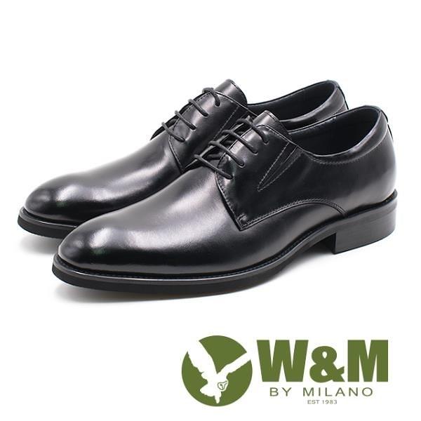 【南紡購物中心】W&M 基本款素面正裝紳士皮鞋 男鞋 - 黑
