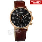 TIMEX 天美時 / TXTW2R71600 /  美國品牌 INDIGLO專利冷光照明 三眼計時 真皮手錶 黑x玫瑰金框x咖啡 40mm