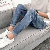 夏季牛仔褲薄款男韓版休閒潮流修身小腳褲子青年寬鬆直筒百搭學生     芊惠衣屋