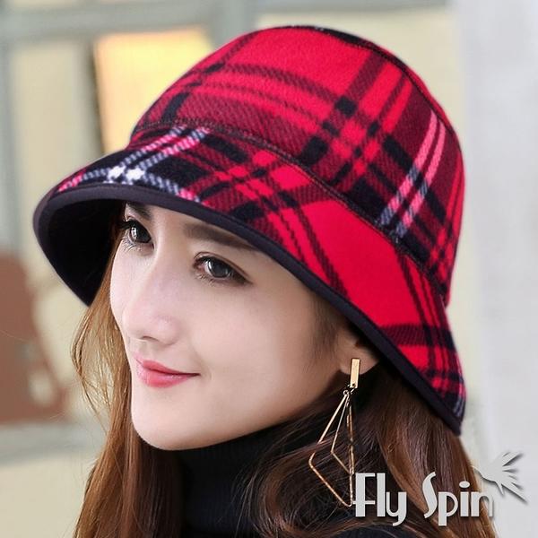 保暖毛呢帽子-女款刷毛絨禦寒防風時尚格紋漁夫冬盆帽15AW-S011 FLY SPIN