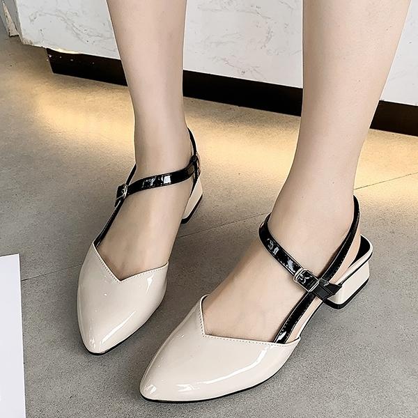 低跟鞋.MIT法式漆皮扣帶粗跟尖頭後空包鞋.白鳥麗子