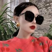 新款大方框偏光墨鏡女時髦方形圓臉長臉太陽鏡韓版潮網紅眼鏡黑色