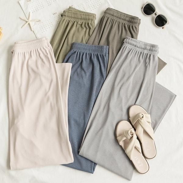 MUMU【P30981】腰部鬆緊彈性針織落地寬褲。五色