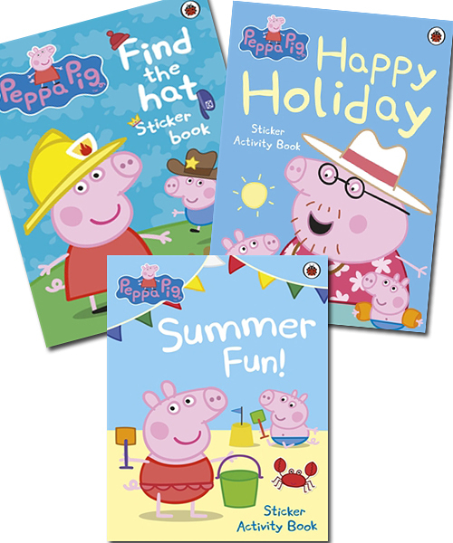 【粉紅豬小妹貼紙書】PEPPA PIG STICKER /3本合購 (SUMMER FUN +FIND THE HAT+HAPPY HOLIDAY)