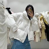 羽絨外套-白鴨絨-寬鬆加厚立領短款女夾克3色73zb8【時尚巴黎】
