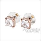 kate spade Save The Date壓印LOGO方形設計鑽鑲飾穿式耳環(玫瑰金x白)