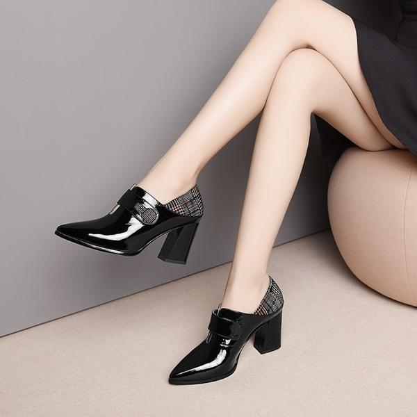 手工真皮女鞋☆2019新款歐美優雅頭牛漆皮尖頭高跟鞋通勤鞋~2色