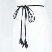腰繩皮帶 素色 長流蘇 裝飾 細版 腰繩 綁帶 打結 編織 腰帶【FJYEZ-S】 ENTER 10/25