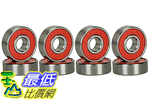 [106美國直購] CJESLNA ABEC 9 Bearings Skateboard Deck Longboard Red Silver 1 set of 8 (101005003128)