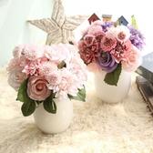 仿真話大麗花束玫瑰花球手捧花家居客廳裝飾品組合花朵擺件道具