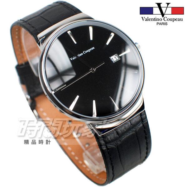 valentino coupeau 范倫鐵諾 簡約城市風格 日期顯示 男錶/中性錶/都適合 皮革錶帶 黑色 61592AS黑釘