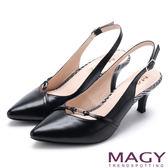 MAGY 都會優雅 繫帶縷空後拉帶尖頭跟鞋-黑色