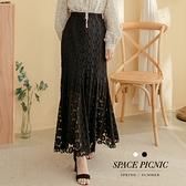 長裙 Space Picnic|素面布蕾絲腰鬆緊魚尾長裙(現貨)【C20125045】