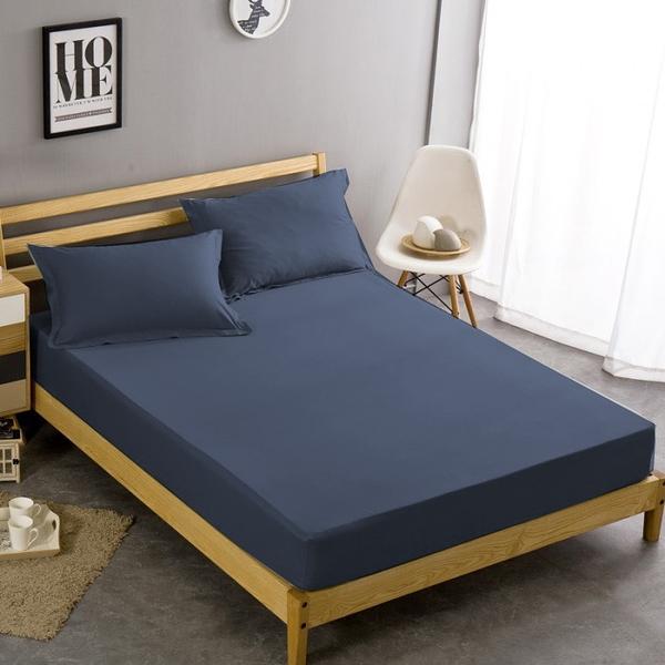 雙人|100%防水吸濕排汗床包保潔墊+枕套三件組《深藍》