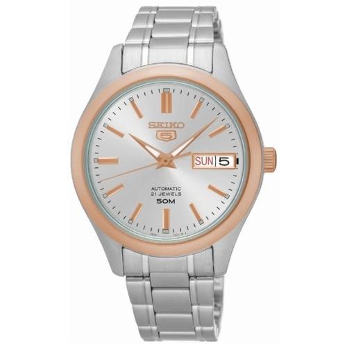 SEIKO 精工5號自動上鏈機械男腕錶/玫瑰金/7S26-04M0KS(SNKN90J1)