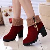 高跟短靴 秋冬新款粗跟厚底女鞋百搭兩穿保暖加棉中筒靴 XN4888【夢幻家居】