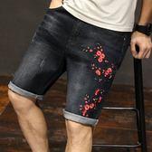 男短褲休閒褲子 黑色牛仔短褲寬松直筒加肥加大碼肥佬褲中褲牛仔褲5五分褲《印象精品》t1377
