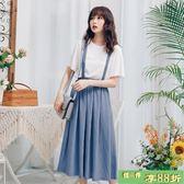 小清新棉麻背帶裙女裝2018新款韓版學生中長版溫柔風半身裙子