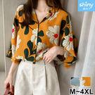 【V2920】shiny藍格子-港風復古.寬鬆顯瘦花朵翻領七分袖襯衫