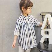 條紋寬鬆休閒襯衫 女童裝(100-140cm) 女童上衣 長版襯衫【巴布百貨】