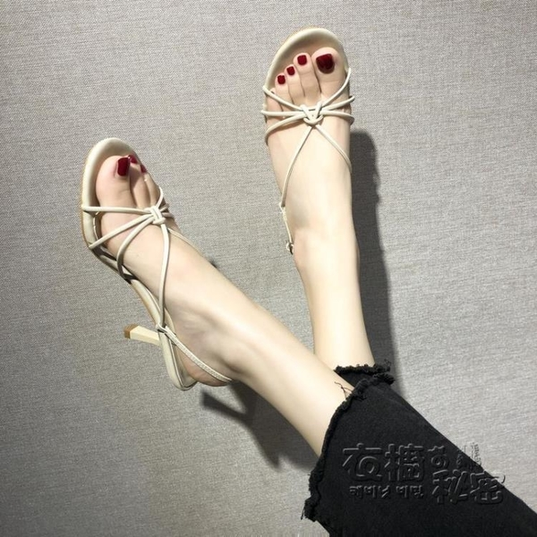 夾趾羅馬繫帶涼鞋新款細跟圓頭復古學生高跟百搭綁帶涼鞋女夏 雙十二全館免運