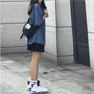 純棉休閒港風寬鬆顯瘦套裝女夏學生時尚短袖t恤 短褲運動兩件套潮 果果輕時尚
