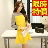 洋裝-毛呢拼色修身圓領韓版女連身裙2色65r12【巴黎精品】