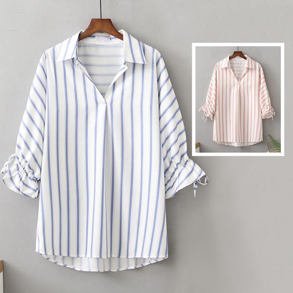 *ORead*韓版小清新翻領豎條紋花邊袖襯衫上衣(2色XL~4XL)