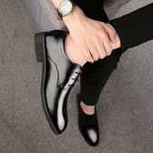 皮鞋休閒青少年黑色尖頭婚鞋四季鞋子男單鞋zh807【極致男人】