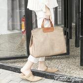公文包女士時尚大容量帆布氣質韓版職業商務通勤電腦文件包手提包  范思蓮恩