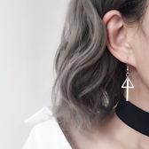 年終9折大促 銀飾簡約幾何三角形豎條耳墜S925純銀耳環女氣質韓國個性耳飾夢想巴士