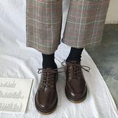 小皮鞋女潮鞋春秋季新款超火百搭復古英倫風配裙子的   韓流時裳