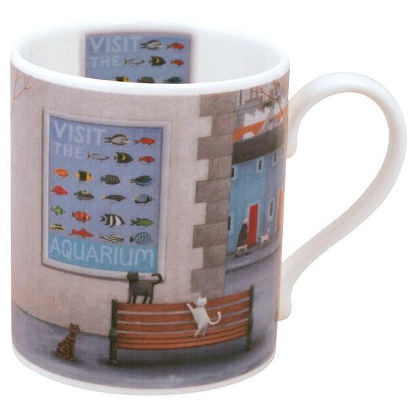 英國骨瓷馬克杯 - 貓與水族館(Aquarium)