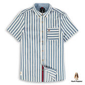 Hush Puppies 襯衫 男裝修身直條紋棉質短袖襯衫