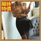 毛呢短裙迷你窄裙-性感包臀OL皮革拼接女裙子66i6【巴黎精品】