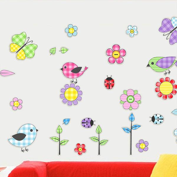 創意無痕壁貼 小鳥與花 兒童房壁貼《生活美學》