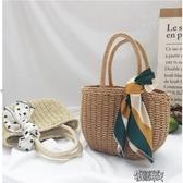草編包度假沙灘編織菜籃子女包休閒手提小包  【快速出貨】